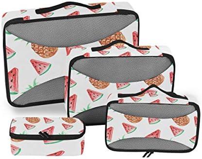 スイカパイナップルサマー荷物パッキングキューブオーガナイザートイレタリーランドリーストレージバッグポーチパックキューブ4さまざまなサイズセットトラベルキッズレディース