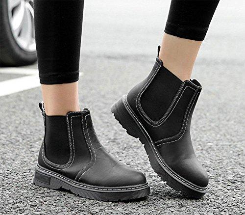 MEILI Zapatos de mujer, Botas de mujer, Martin Boots, Plataforma, Arte, Retro, XL, Moda, Informal black