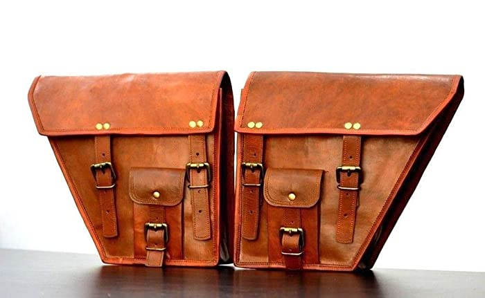 5ff21664e 2x Motorcycle Leather Bag Genuine Saddlebag Bike Leather Messenger Satchel  | Tool Bag Brown Handlebar Sissy bar Travel Bag, 10 x 12 Inch | With Free  ...