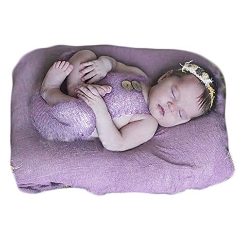Baby Photography Props Boy Girl Photo Shoot Outfits Newborn Crochet Costume Infant Knitted Clothes Mohair Rompers (Purple)