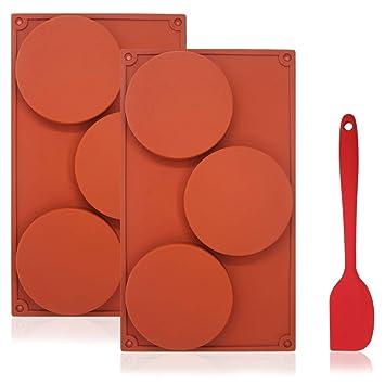 Molde de silicona de 3 cavidades redondas para tartas de DaKuan, con espátula de silicona