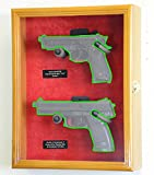 wall display case for knives - Large/ Double 2 Pistol Handgun Revolver Gun Display Case Cabinet Rack Shadowbox (Oak Finish, Red Background)