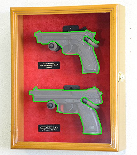 Large/ Double 2 Pistol Handgun Revolver Gun Display Case Cabinet Rack Shadowbox (Oak Finish, Red Background)