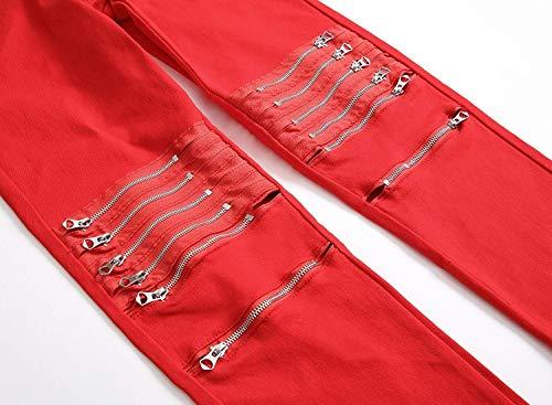Tinta Jeans Elasticizzati Uomo Uomo Alta A Unita Vita Pantaloni Moderna Moda Rosso Da Casual Bassa wYPq7B