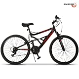 Image of GTM 26'' Mountain Bike 18 Speed Bicycle Shimano Hybrid Suspension,Black&Red