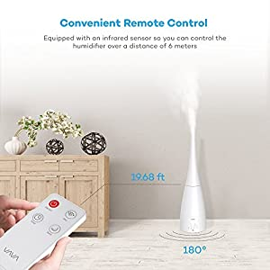 VAVA Humidifier with Remote Control, Two Type nozzles, Ultrasonic Humidifiers for Home Bedroom, Adjustable Mist, Timer, Sleeping Mode and Low Water Protection - 3L / 0.79 Gallon, US 110V