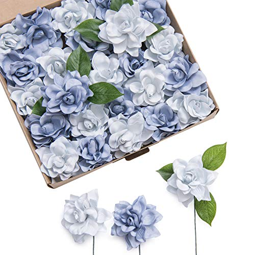 Ling's moment Artificial Flowers 25pcs Dusty Blue Shades Gardenia Flowers w/Stem for DIY Wedding Bouquets Centerpieces Arrangements Party Baby Shower Home Decorations (Dusty Blue Shades) from Ling's moment