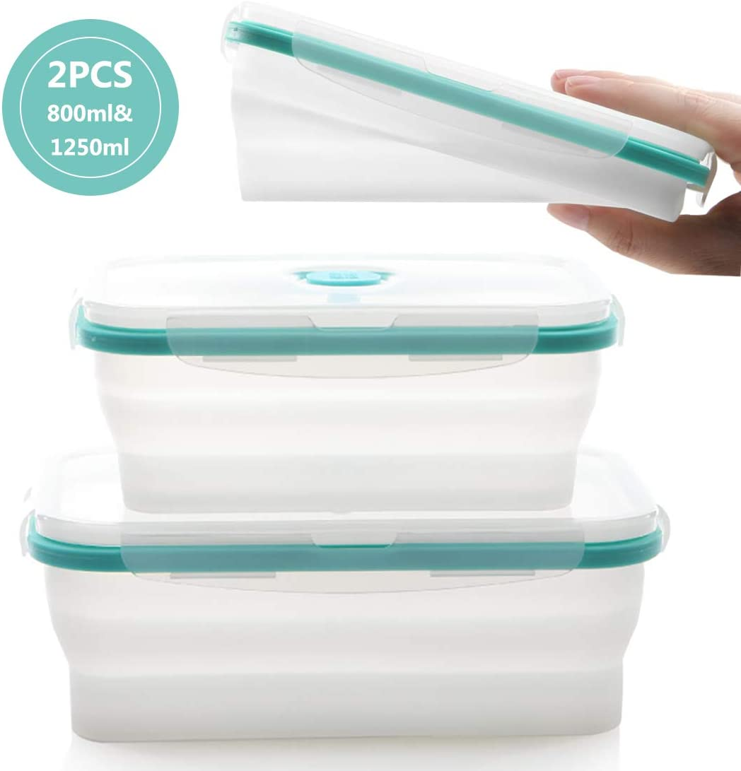 fancyfree Silicone Collapsible Lunch Box, leakproof Benton Containers,Microwave Oven Available,Folding Bowl Set With Leakproof Lid,2 Packs (Blue Transparent)