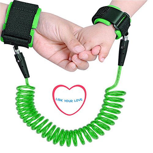 Lost Green (Baby Anti lost Wrist Link 2.5m Toddlers Safety Harness Leash Child Tether Hook Loop Band Kids Straps Rope for Children Babies with Parents (98 inch) by Elekmall (2.5m, Green))