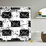 EIGTU Black Letters Eco-Friendly Shower Curtain Water Repellent, Everyday Shower Curtain Liner Mildew-Free 72 x 72