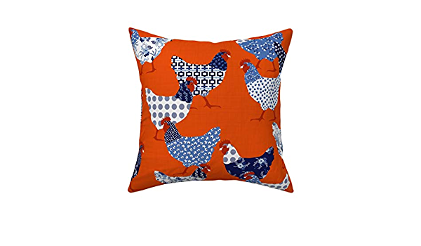 Chicken Hen Farm Chinoiserie Throw Pillow Cover w Optional Insert by Roostery