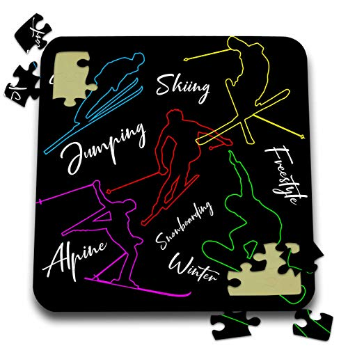 (3dRose Alexis Design - Sport Skiing - Colorful Outlined Silhouettes of Skiers. White Text. Winter Sports - 10x10 Inch Puzzle (pzl_296388_2))
