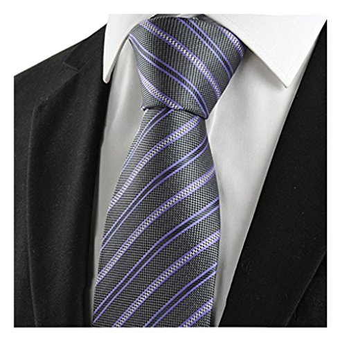 MENDENG Grey Purple Black Blue New Striped Classic Silk Men's Tie Party Necktie