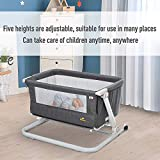 Qaba Baby Bassinet Folding and Adjustable Baby Crib for 0-5 Months with Wheels & 5 Height Levels, Dark Grey