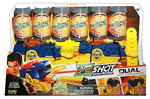XShot Dual Double Blaster Gun Pack - Cans, Darts, and Discs Action (Dual Blaster)