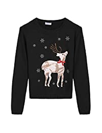 BELLE-LILI Kids Girls Winter Christmas Ruffles Knitted Pullover Sweater Jumper
