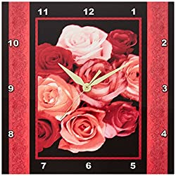 3dRose dpp_29805_1 Dreamy Hues of Red Peach Pink Roses with Red Damask Ribbon Trim-Wall Clock, 10 by 10-Inch
