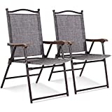 Set of 2 Patio Folding Sling Back Chairs Camping Deck Garden Pool Beach Gray with Ebook