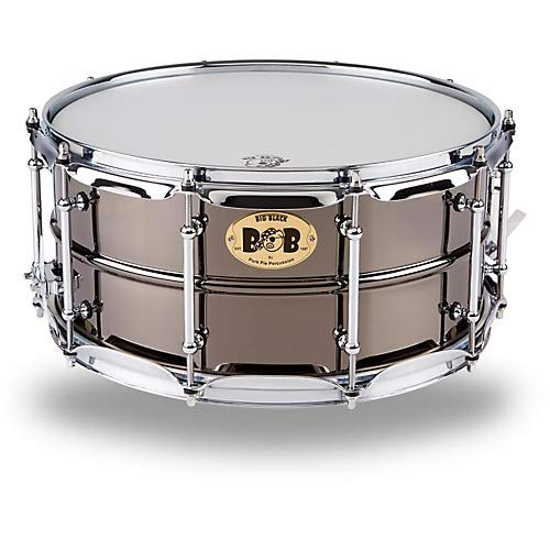 Pie Drum Set Pork - Big Black Brass Snare Drum with Tube Lugs and Chrome Hardware
