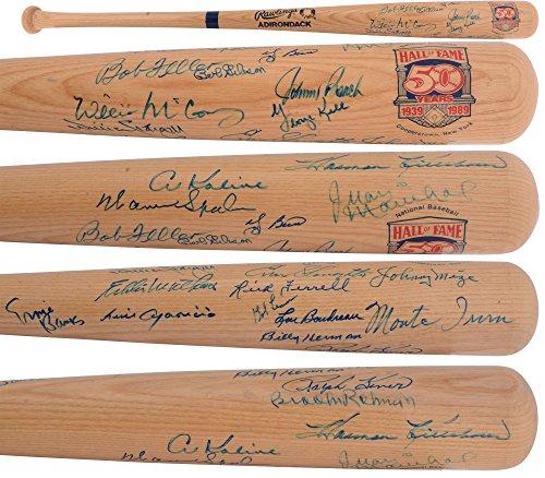 (MLB HOF'ers Autographed Blonde Louisville Slugger Bat with 23 Signautres - JSA Certified - Autographed MLB Bats)