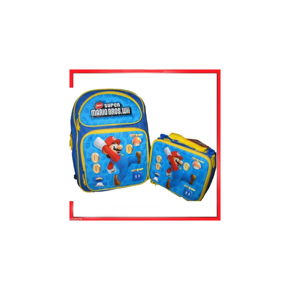 New Super Mario Bros Wii Large Backpack & Lunch Bag