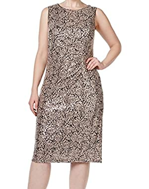Womens Plus Textured Sequined Cocktail Dress