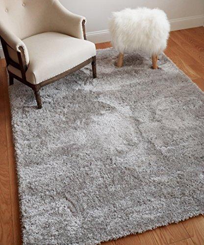 Fur Silver (Well Woven Super Soft Faux Fur Shag 5x7 (5'3