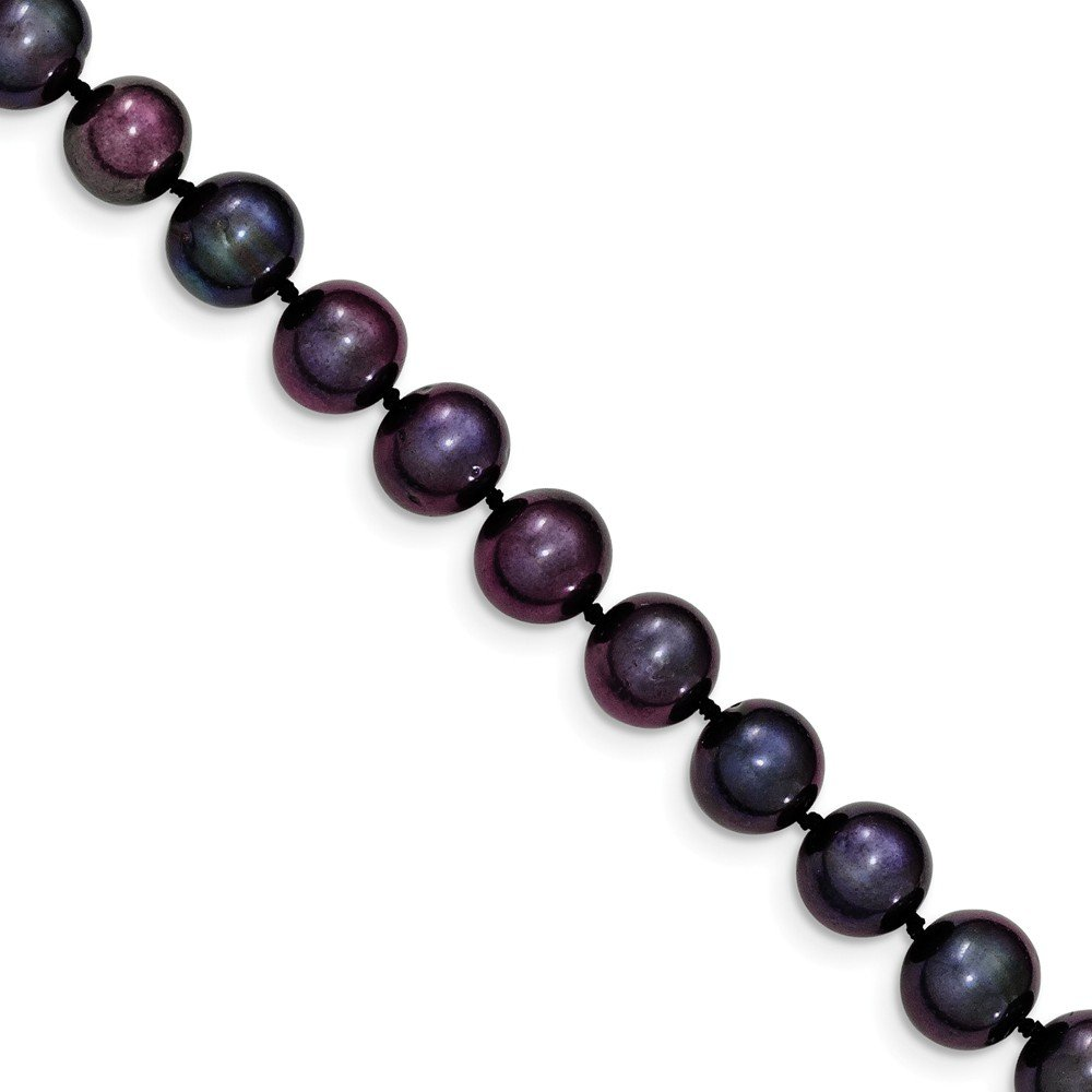 Mia Diamonds 14k Yellow Gold Gold 8-9mm Black Egg Shape Fresh Water Cultured Pearl Necklace