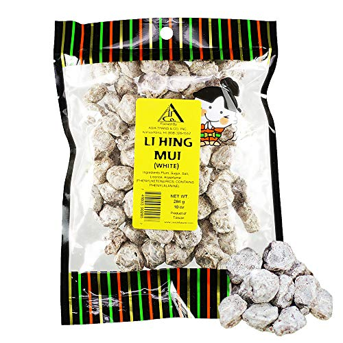Asia Trans Seeded White Li Hing Mui Crack Seed Plums | Hawaiian Favorite | Salty, Sour, & Bitter Dried Asian Plum Candy