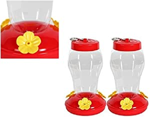 Garden Collection Hanging Hummingbird Feeder - 6.75 Inches - 2 Pack, Clear, Red