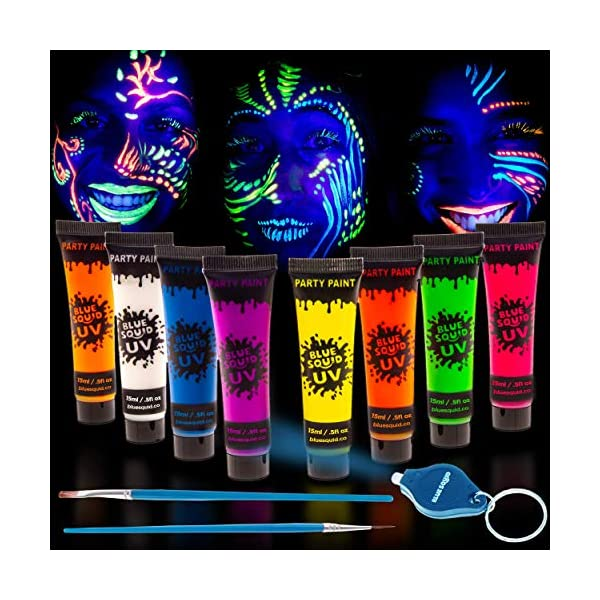 UV-Face-Body-Paint-Set-by-Blue-Squid-8-Liquid-UV-Body-Paints-8-x-Large-05oz-FREEBONUS-Mini-Ultraviolet-Torch-Glow-in-The-Dark-Neon-Face-Body-Paint-Black-Light-Reactive-Neon-Paints