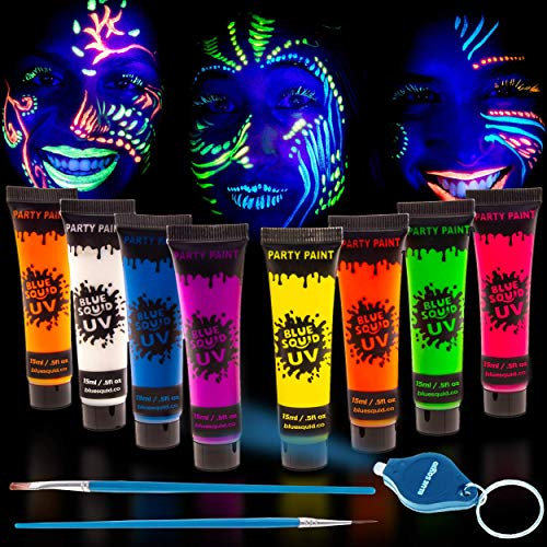Blue Squid UV Glow in The Dark Face & Body Paint - Set of 8 0.5oz Tubes Black Light Reactive Neon Liquid -