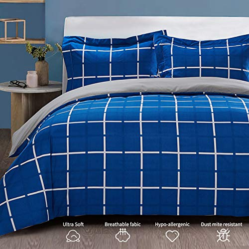Top Finel Duvet Cover Queen 3-Piece Set with 2 Pillow Shams Soft Microfiber Wrinkle Free Blue Plaid Grid Pattern Comforter Cover with Zipper Closure