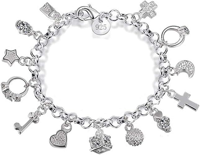 Pulsera de plata de 13 piezas colgantes para mujer, regalo de moda