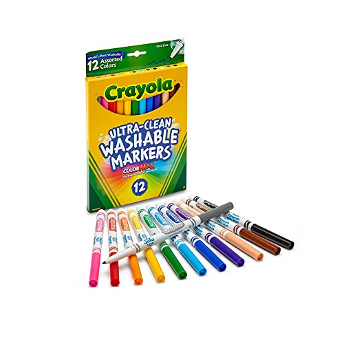 Crayola 12 Ct Fine Washable Markers (Markers Washable Tip Fine)