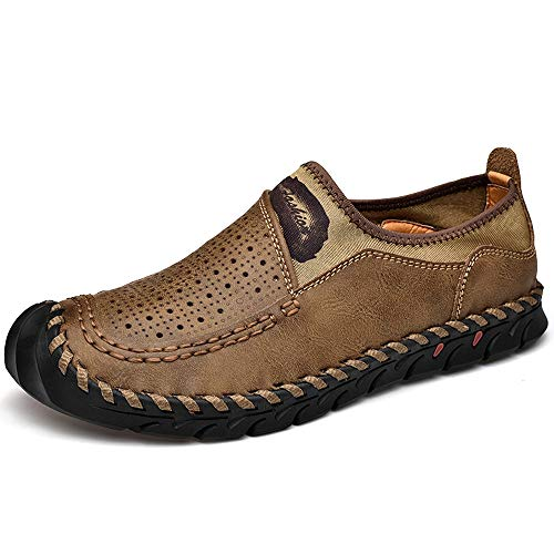 FFZC Mens Casual Walking Loafers Shoes Comfortable Leather Slip On for Men Walking Shoes (US-9.5, Khaki)