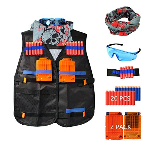 Tactical Vest Kit for Nerf Guns H2Fun Tactical Vest Kit N-Strike Elite Series with 20PCS Refill Darts,2 Quick Reload Magazines, Tactical Mask and Protective Glasses by H2fun