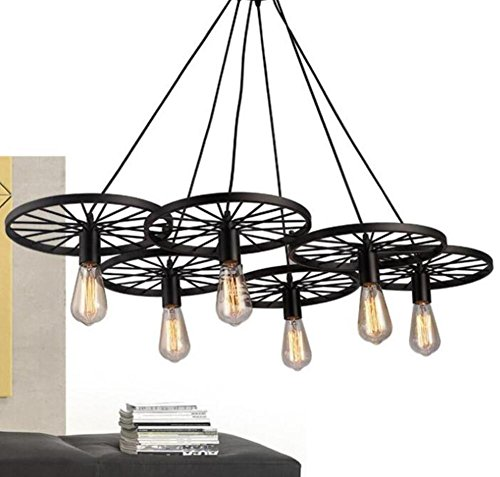 GL&G American Retro Industrial Chandelier, for Living Room Hallway Studio Bar Restaurant Lights Decorative Iron Lights Lighting(No light source),6 head by GAOLIGUO