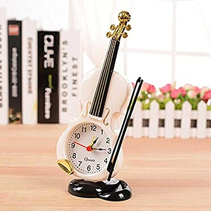 2018 New 2 Colors Creative Instrument Table Clock Student Violin Gift Home Decor Fiddle Quartz Alarm Clock Desk Plastic Craft Back To Search Resultshome & Garden