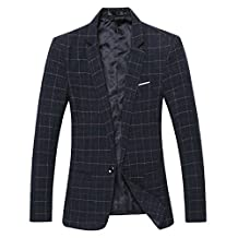 Benibos Mens Casual One Button Slim Fit Plaid Blazer Jacket