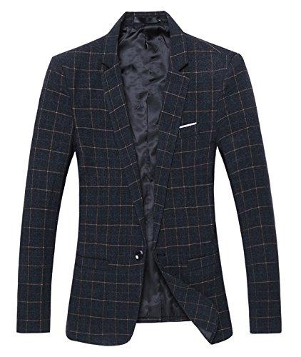 Benibos Mens Casual One Button Slim Fit Plaid Blazer Jacket (M, (One Button Plaid Jacket)