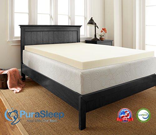 PuraSleep Classic 2'' Memory Foam Mattress Topper - Made In The USA - 3-Year Warranty, Twin XL by PuraSleep