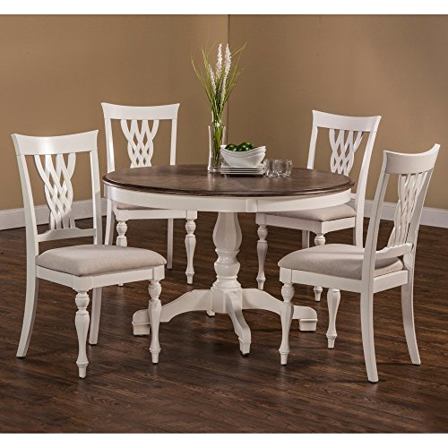 5-Pc Round Dining Set in White Finish (Dining Table Driftwood Round)