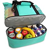Beach Tote - Beach Bag Camping Insulation Bag Ice Bag, Canvas and Mesh Lunch Bag (Green)