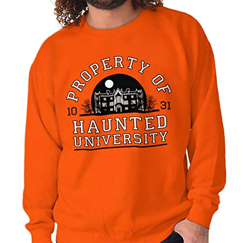 Brisco Brands Haunted University College Halloween Scary Crewneck Sweatshirt Orange ()
