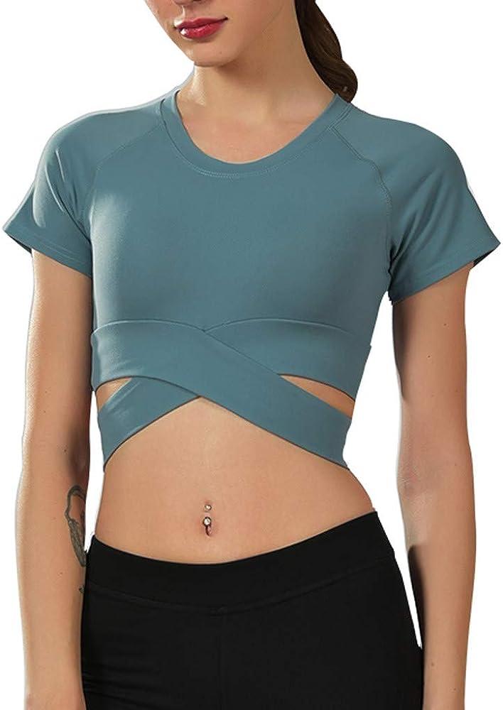 DressLksnf Camiseta de Mujer Color Sólido Cuello Redondo Camiseta Corta Cuerda Cruzada Cortas Blusa Moda Deportiva Blusa 2025 Verano Elegante Cómodo Blusa Tops: Amazon.es: Ropa y accesorios