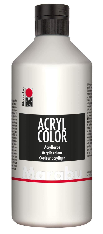 Marabu 120175070 Acryl Color Kremowa Farba Akrylowa na Bazie Wody Biała 500 ml
