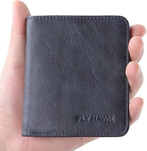 FlyHawk RFID Blocking Genuine Leather Wallets for Men Biford Mini&Slim Size Wallet