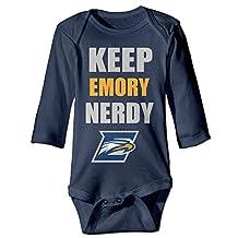 ElishaJ Emory University Babys Long Sleeve Bodysuit Baby Onesie Navy