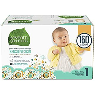 Seventh Generation Baby Diapers for Sensitive Skin, Animal Prints, Size 1, 160 Count (Packaging May Vary)